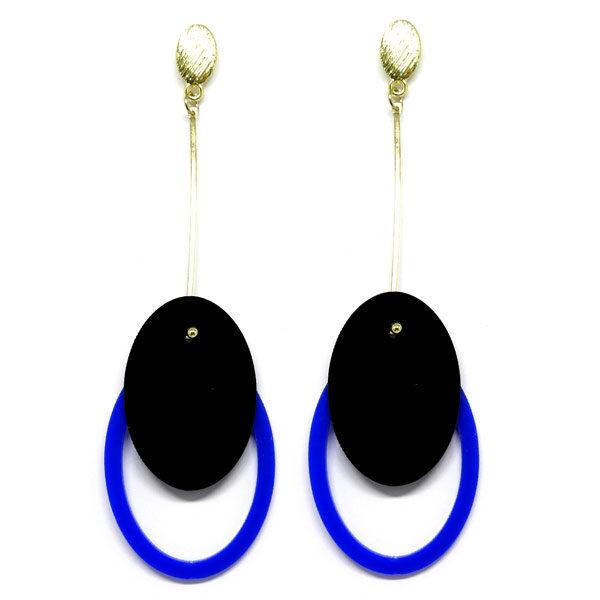 Brinco De Acrílico Oval - Preto e Azul