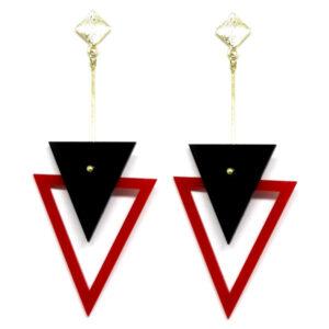 Brinco De Acrílico Triângulos – Preto e Vermelho