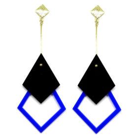 Brinco De Acrílico Pendular - Preto e Azul