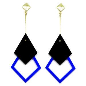 Brinco De Acrílico Pendular – Preto e Azul