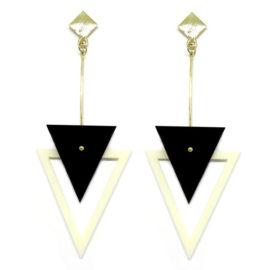 Brinco De Acrílico Triângulos – Preto e Branco