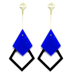 Brinco De Acrílico Pendular – Azul e Preto