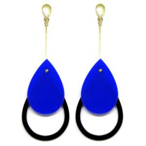 Brinco De Acrílico Gota – Azul e Preto