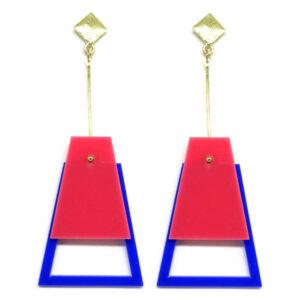 Brinco De Acrílico Pendulo – Rosa e Azul