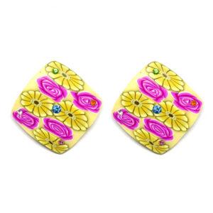 Brinco Quadrado Floral de Acrílico – MD-003