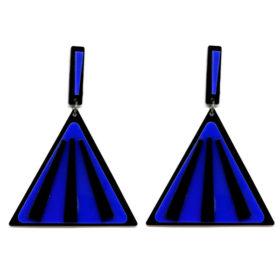 Brinco De Acrílico Triangular - Preto e Royal