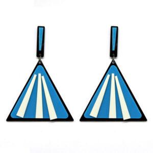 Brinco De Acrílico Triangular – Azul e Branco