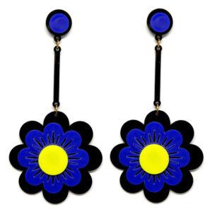 Brinco Grande Flor de Acrílico – Preto e Royal