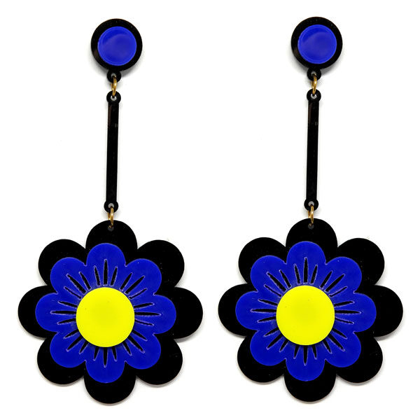 Brinco Grande Flor de Acrílico - Preto e Royal