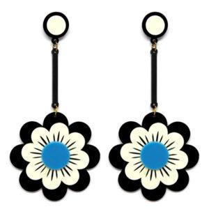 Brinco Grande Flor de Acrílico – Preto e Branco