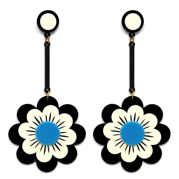 Brinco Grande Flor de Acrílico - Preto e Branco