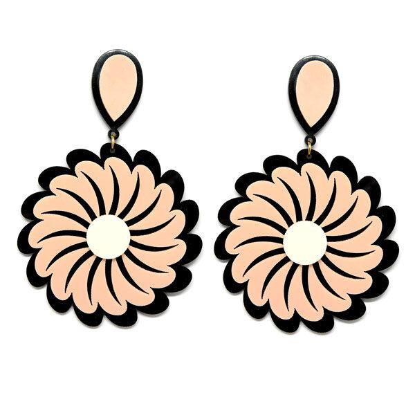 Brinco de Acrílico Grande Flor - Preto e Rosa