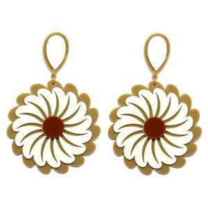 Brinco de Acrílico Grande Flor – Nude e Branco