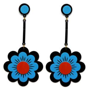 Brinco Grande Flor de Acrílico – Preto e Azul