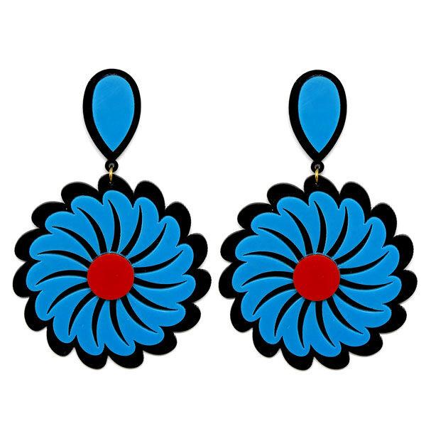 Brinco de Acrílico Grande Flor - Preto e Azul
