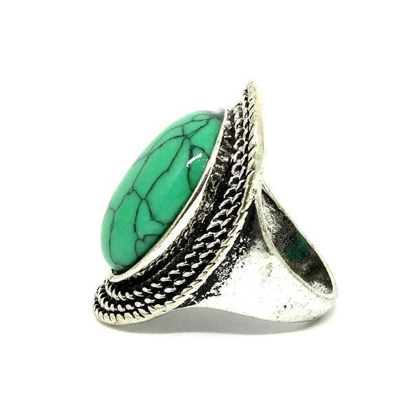 Anel Prata Turca Com Pedra Verde