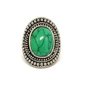 Anel Luisa Prata Turca Com Pedra Verde – ARO 19