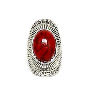 Anel Ana Prata Turca Com Pedra Vermelha