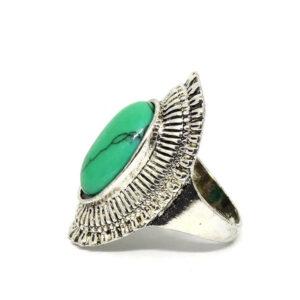Anel Ana Prata Turca Com Pedra Verde