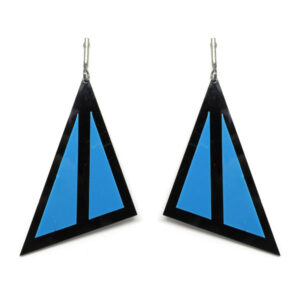 Brinco Geométrico Preto e Azul