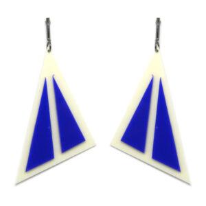 Brinco Geométrico Branco e Azul