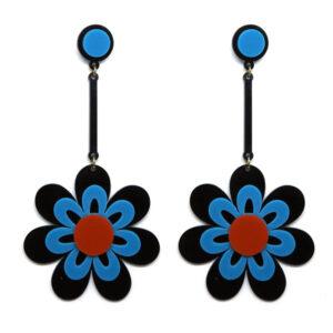 Brinco Flor Preto e Azul