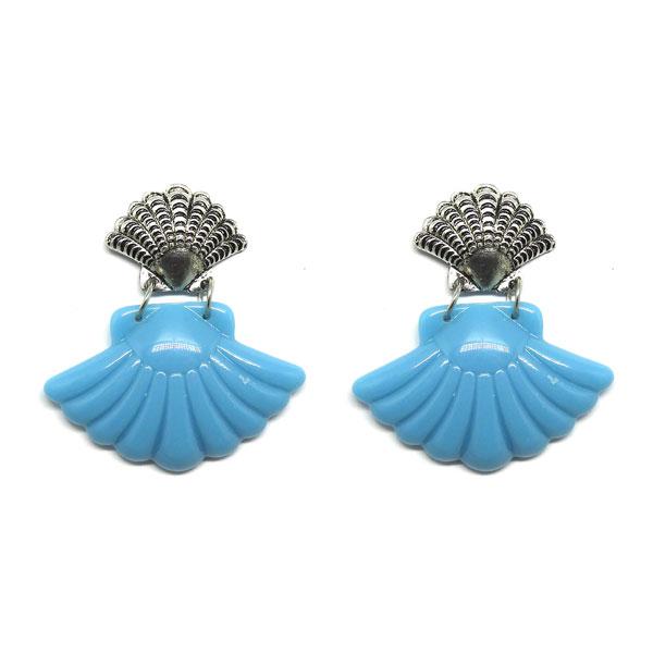 Brinco de Resina Concha - Azul e Prata
