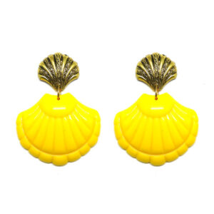 Brinco de Resina Concha – Dourado e Amarelo