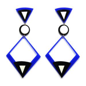 Brinco Grande Leve Azul e Preto