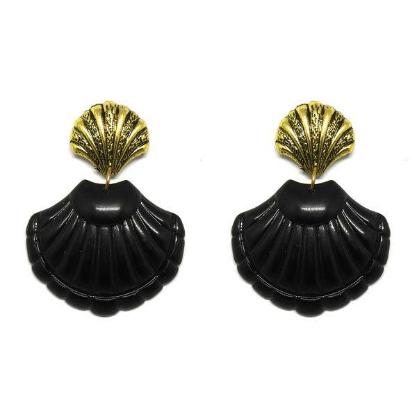 Brinco de Resina Concha - Dourado e Preto