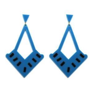 Brinco De Acrílico Azul e Preto