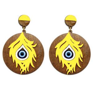 Brinco de Madeira Redondo com Olho Grego – Amarelo