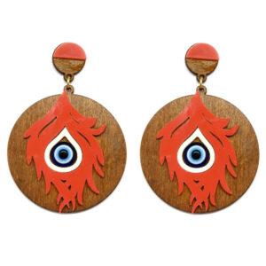 Brinco de Madeira Redondo com Olho Grego – Laranja