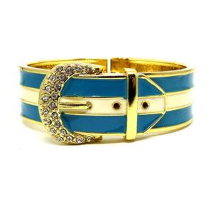 Bracelete Fivela Dourado e Azul