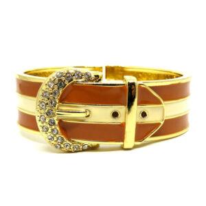 Bracelete Fivela Dourado e Marrom