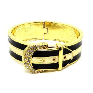 Bracelete Fivela Dourado e Preto