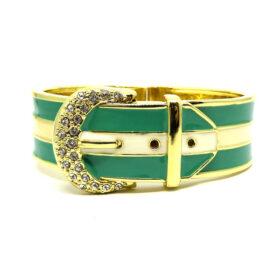 Bracelete Fivela Dourado e Verde