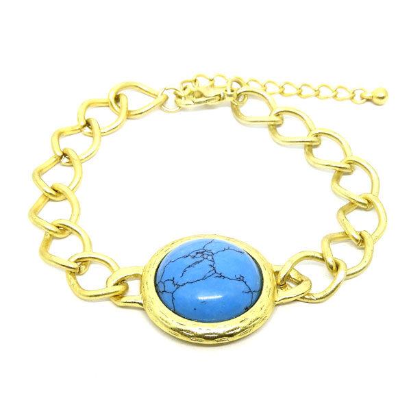 Pulseira com Elos Dourado e Pedra Azul Turquesa
