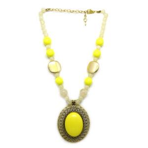 Colar com Bolas e Chaton Oval Amarelo