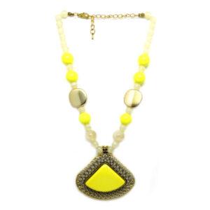Colar com Bolas e Chaton Triangular Amarelo