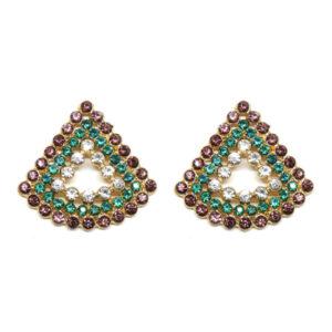 Brinco Triangular Lilás e Esmeralda