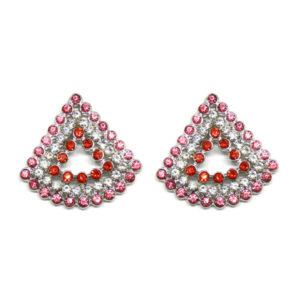 Brinco Triangular Rosa e Vermelho