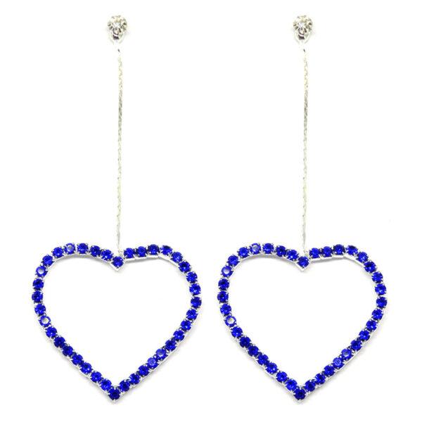 Brinco Prata Coração com Strass Azul