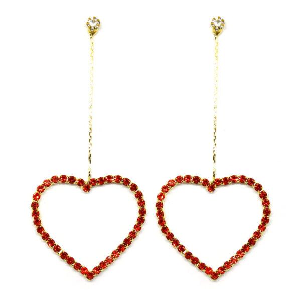 Brinco Dourado Coração com Strass Vermelho
