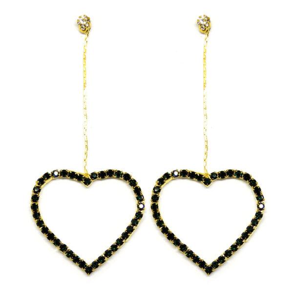 Brinco Dourado Coração com Strass Preto