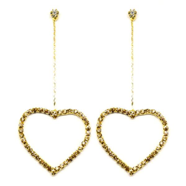 Brinco Dourado Coração com Strass Caramelo