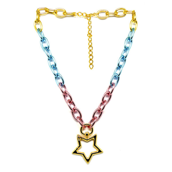 Colar de Correntes Tie-die e Estrela