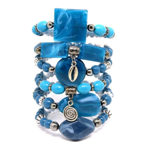 Kit de Pulseiras Azul com Pingentes