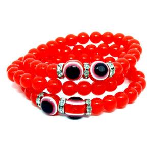 Kit de Pulseiras Vermelhas Com Olho Grego