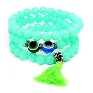 Kit de Pulseiras Verde Com Olho Grego de Cor Variada